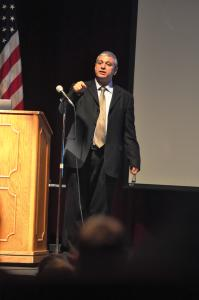 Tyler Stauffer photo: Offer Baruch spoke at Mercyhurst College on Thursday, Jan. 7. His lecture focused on the origins of Islamic extremism as a threat to the United States and the West as a whole.